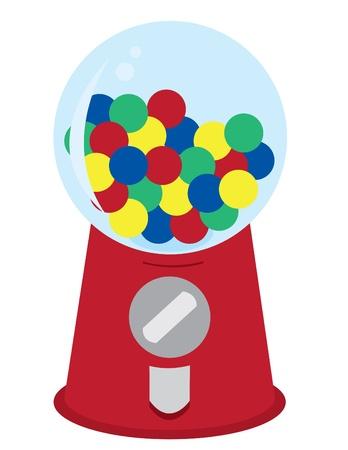 distribution automatique: Gumball Machine avec bonbons assortis. Illustration