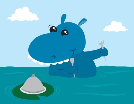 getting ready: Cartoon hippo getting ready to eat.