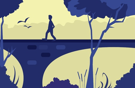 Purple scene with a person walking down a bridge with trees in the foreground.   Ilustração