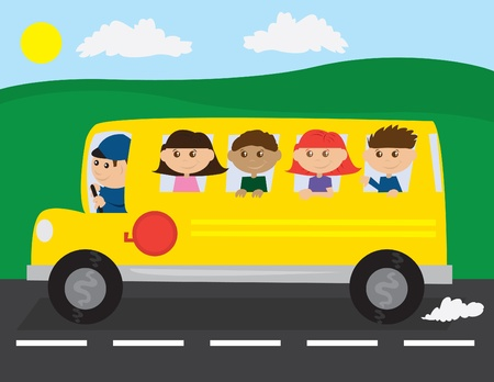 school: School bus on the road with kids.