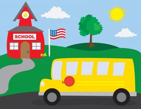 School scène met schoolbus, schoolgebouw en boom.