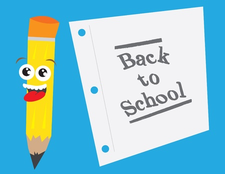 Pencil character with back to school paper. Vector