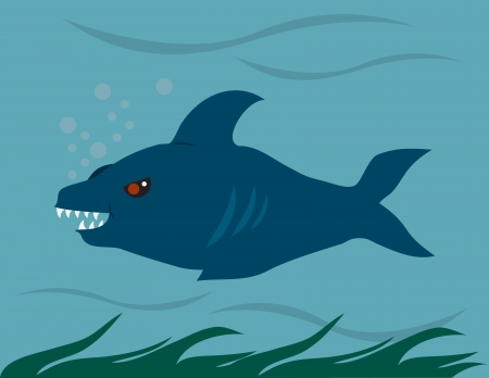 Shark swimming through the ocean. Vector