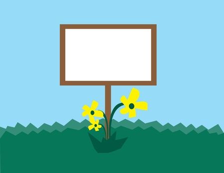Blank sign for text with flowers in grass