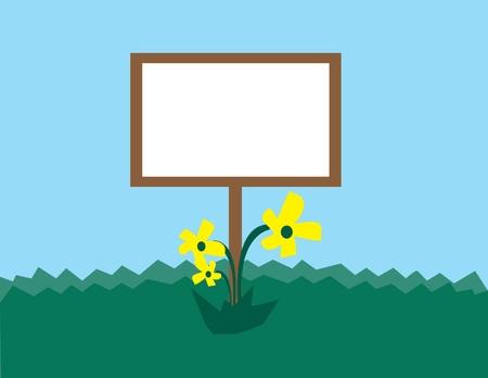 Lege teken voor tekst met bloemen in het gras