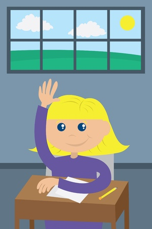 school desk: Student raising her hand in the back of the classroom.   Illustration