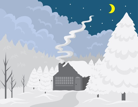 Small cottage in the woods at wintertime. Illustration
