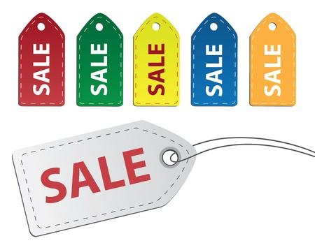 Sale Tags Red, Green, Yellow, Blue, Orange and White. Stock Vector - 11307940