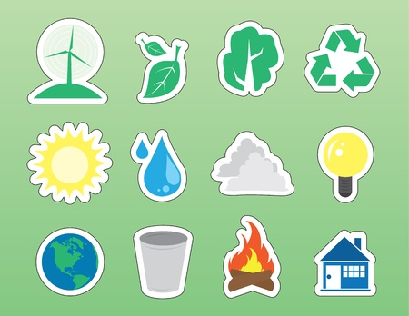 Various environmental green isolated icon stickers.
