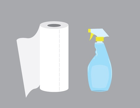 wiping: Cleaning spray bottle with paper towel roll.