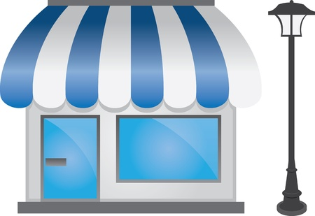 Store shop front with light post Illustration