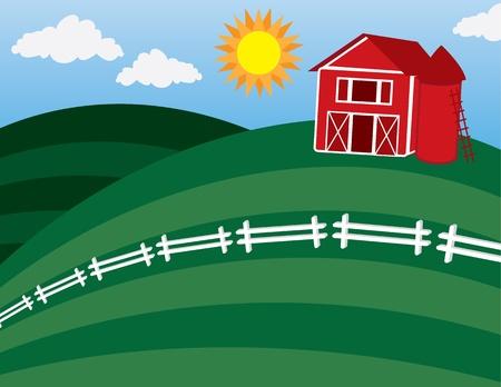 白いフェンスの大きい丘の上の漫画の納屋