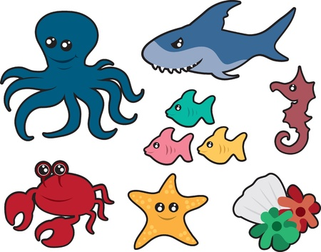 underwater fishes: Various ocean creatures including an octopus, shark, fish, seahorse, crab, starfish.