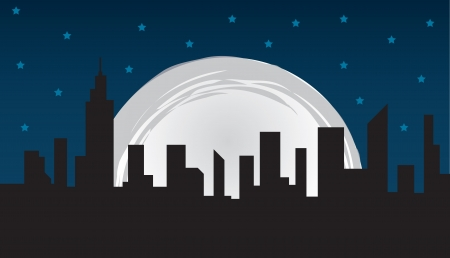 Nighttime city skyline and large moon Vector