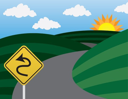 Curvy road and hills with warning sign