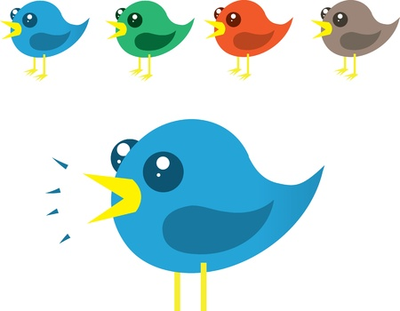 Vaus colored birds chirping Stock Vector - 11561662