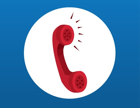 Red phone with sound coming from the earpiece Illustration