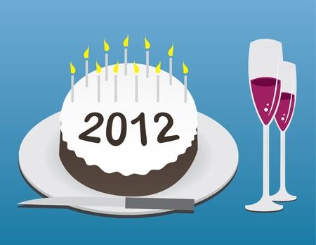 champagne celebration: 2012 celebration cake and champagne  Illustration
