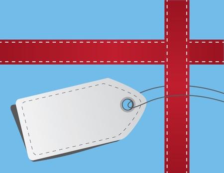 Nastro rosso e tag con cuciture per il regalo Archivio Fotografico - 11561673