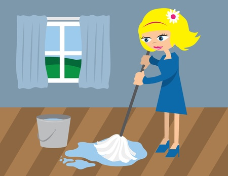 dirty house: Woman cleaning floor with mop