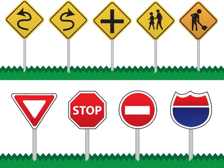 Various Road Signs including curves ahead, pedestrians, intersection, construction, stop, yield, do not enter and highway interstate sign. Vector