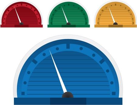 Speed gauge speedometer in four colors Çizim