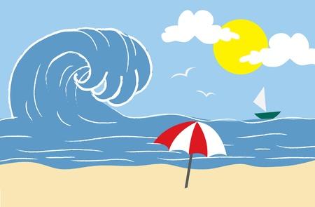 해변 현장에 내려에 대해 충돌하는 거대한 파도.