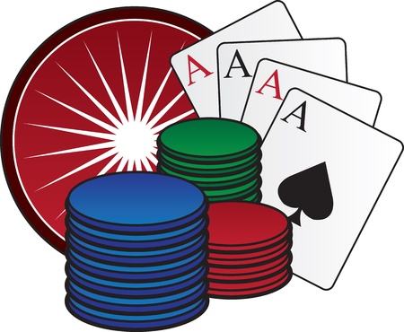 Casino chips, cards and roulette wheel. Vector