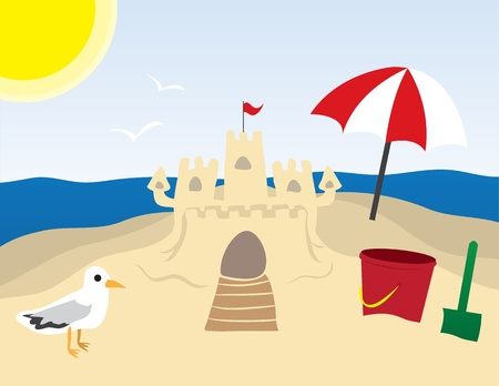 Beach scene with sandcastle and ocean in the background. Ilustrace