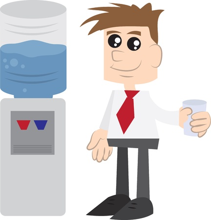 Businessman holding cup of water next to watercooler
