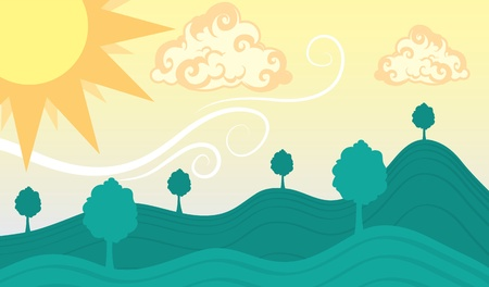 rolling hills: Scenic view with rolling hills and large sun