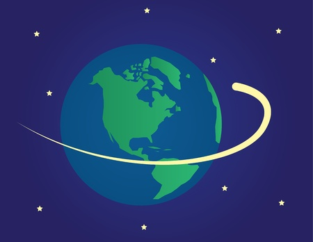 Planet earth in space with shooting star spinning around globe Vector