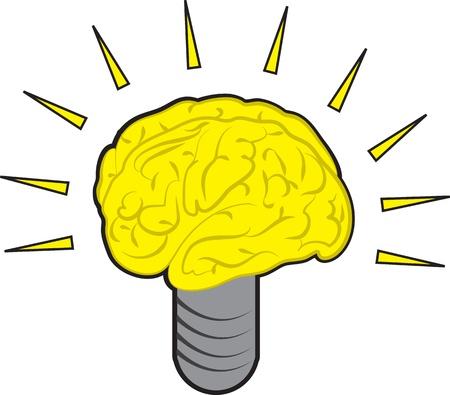 Brain Power gloeilamp illustratie Stock Illustratie
