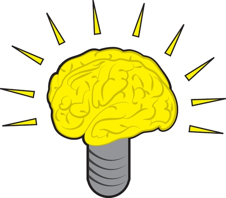 power of the brain: Brain Power illustrazione luce della lampadina