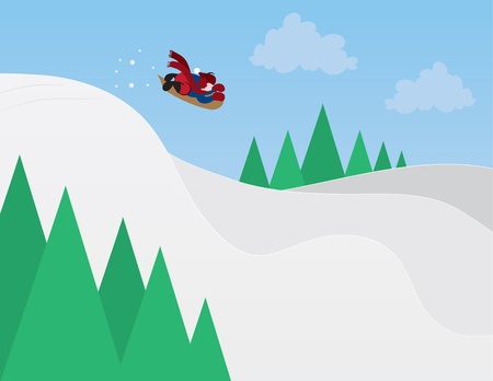 Kid sledding down a snowy hill  Illustration