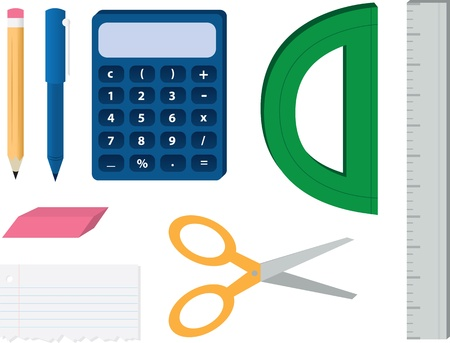 addition: Various school supplies including pen and pencil, calculator, ruler, protractor, paper and scissors. Illustration
