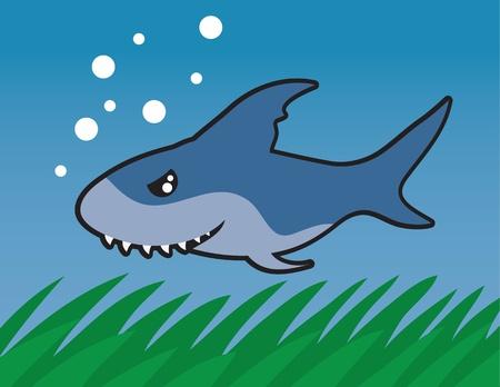 Shark swimming through the ocean. Stock Vector - 11561744