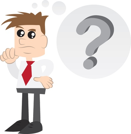 business skeptical: Businessman thinking with question mark thought bubble Illustration