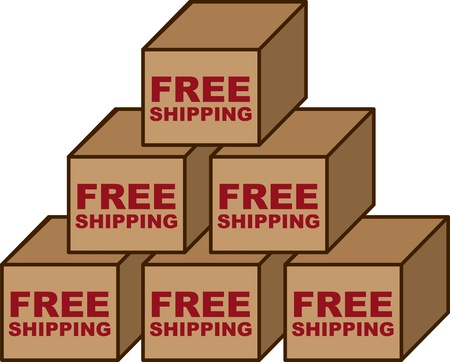 Free shipping boxes stacked in a pyramid Vector