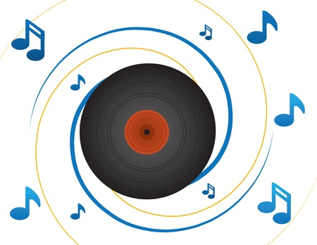 spinning: Spinning vinyl record with notes