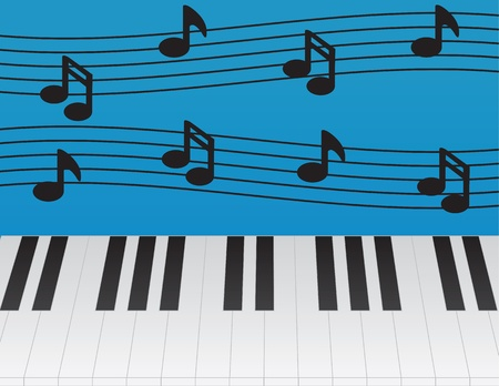 Piano keys and music notes Vector