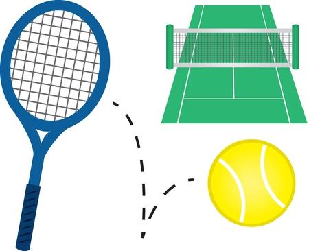 テニス ラケット、テニスボールとコート  イラスト・ベクター素材