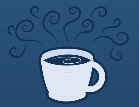 steaming coffee: Coffee or chocolate milk mug with blue steam