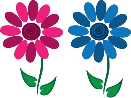 Twee geïsoleerde bloemen met stengel en bladeren