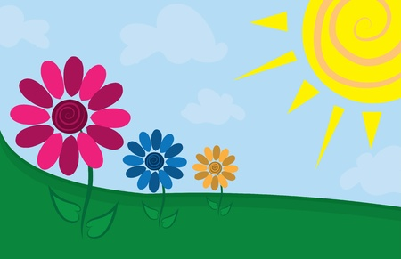 Three flowers in a sunny field Stock Vector - 11674291