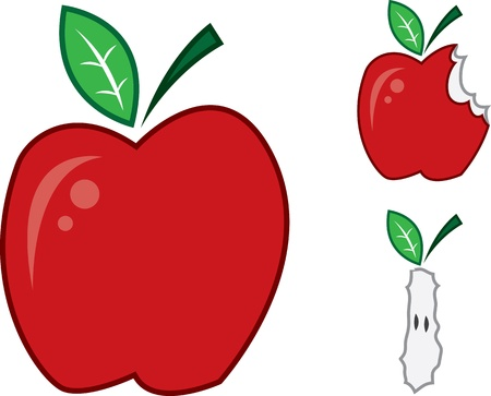Isolated apples.  One whole, one bitten and one bit to the core.  Vector