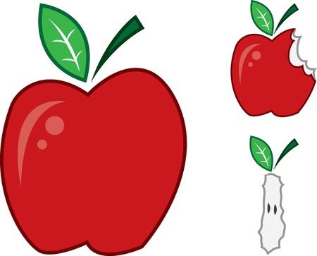 bitten: Las manzanas aisladas. Un conjunto, un poco mordida y otro para el n�cleo.