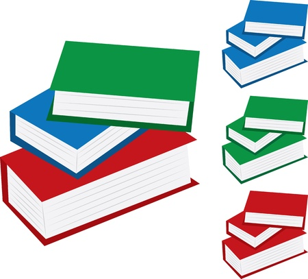 Various school books stacked.