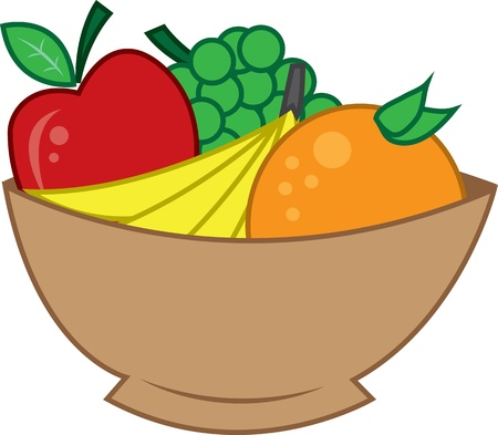 Wooden bowl of fruit.  Apple, Bananas, orange and grapes.  Vector