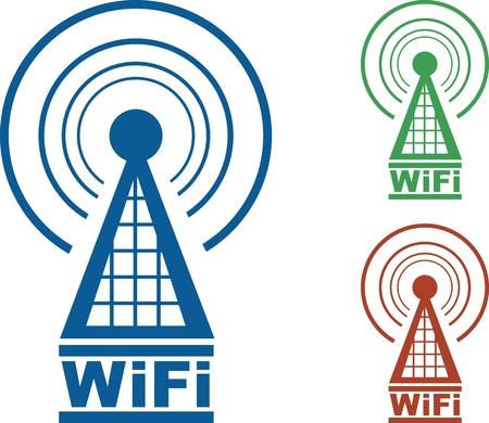 3 つの色の電波と WiFi タワー。